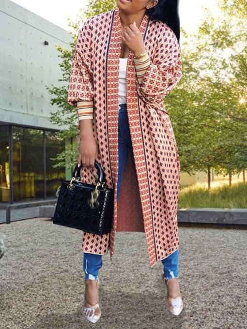 Wrapped Long Print Fashion Women's Trench Coat