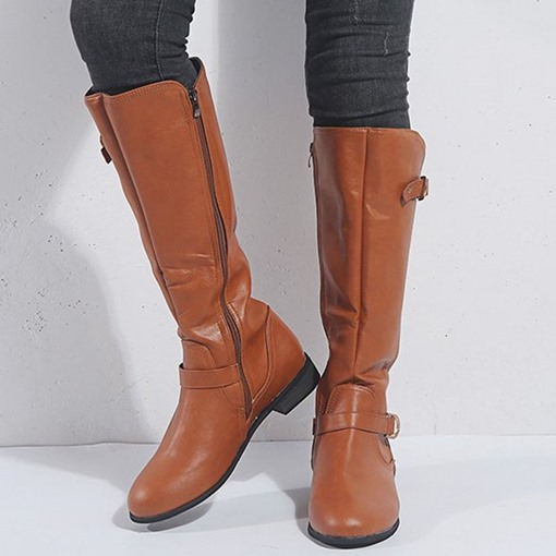 Round Toe Side Zipper Plain Western Knee High Boots