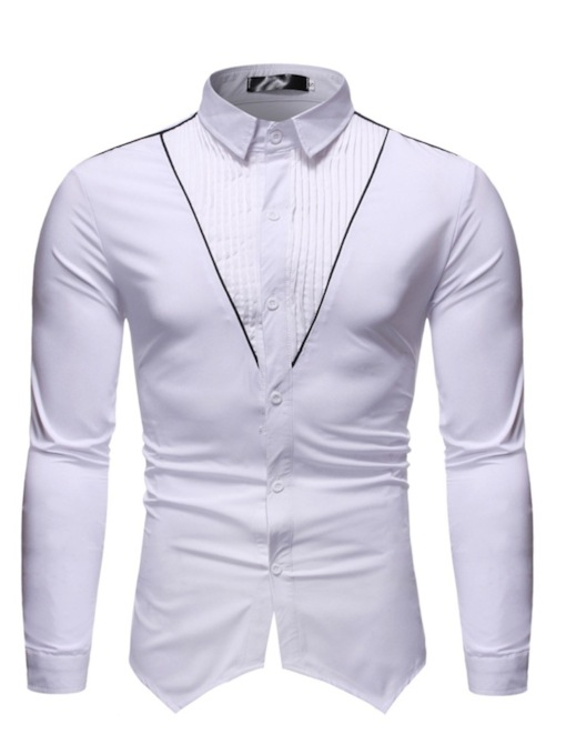 Lapel Casual Button Color Block Single-Breasted Men's Shirt