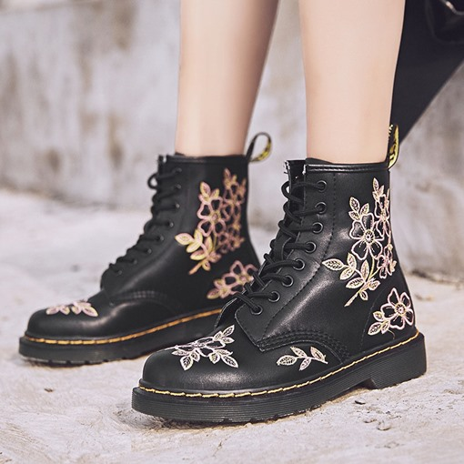 Embroidered Round Toe Color Block Lace-Up Front Martin Boots