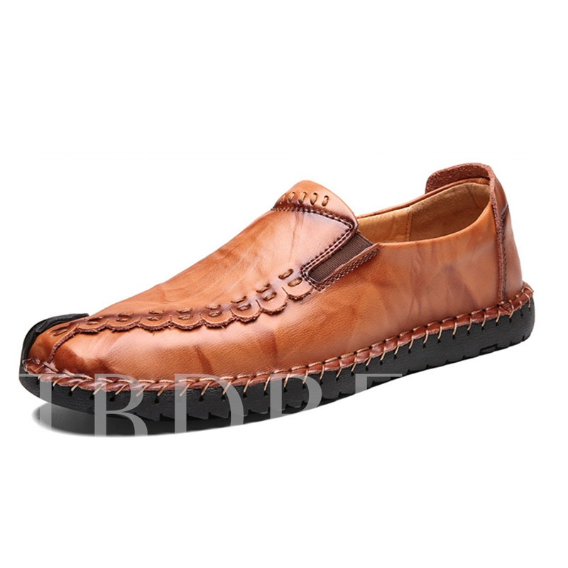 Low-Cut Upper Slip-On Round Toe Men's Driver Shoes