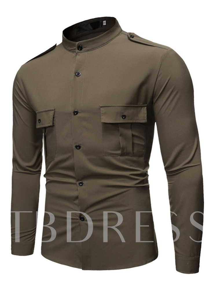 Button Stand Collar Casual Plain Slim Men's Shirt