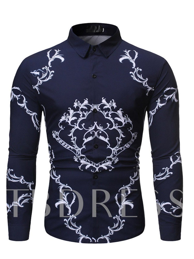 Lapel Print Casual Men's Slim Shirt