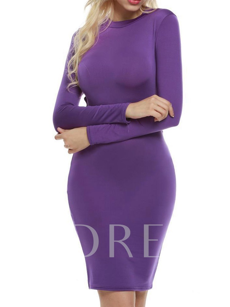 Long Sleeve Backless Round Neck Spring Women's Bodycon Dress