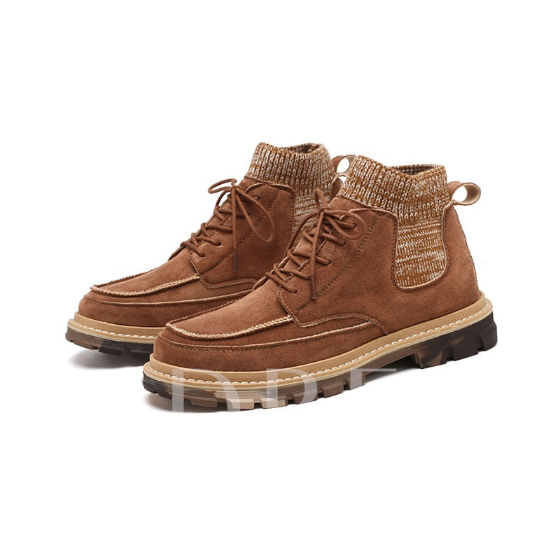 Round Toe Lace-Up Front Color Block Men's Martin Boots