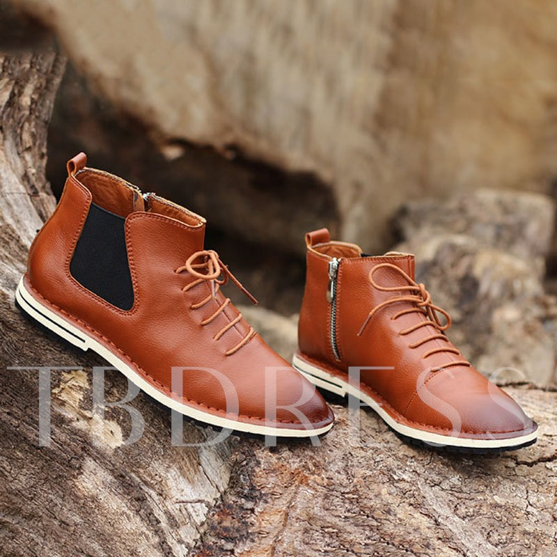 Lace-Up Front Pointed Toe Patchwork Men's Ankle Boots