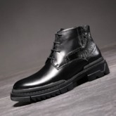Business Round Toe Lace-Up Front PU Men's Ankle Boots