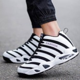 Lace-Up Sports Stripe Round Toe Men's Basketball Shoes