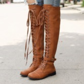 Side Zipper Round Toe Plain Buckle Knee High Boots