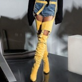 Pointed Toe Side Zipper Chunky Heel Thigh High Boots