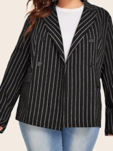 Long Sleeve Notched Lapel Double-Breasted Stripe Plus Size Women's Casual Blazer