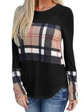 Color Block Long Sleeve Mid-Length Round Neck Spring Women's T-Shirt