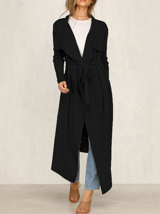 Long Lapel Hemline/Peplum Women's Trench Coat