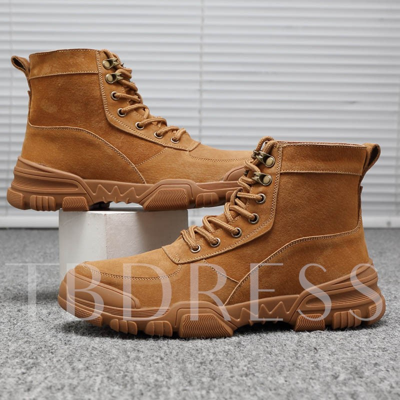 Plain Lace-Up Front Round Toe Martin Boots