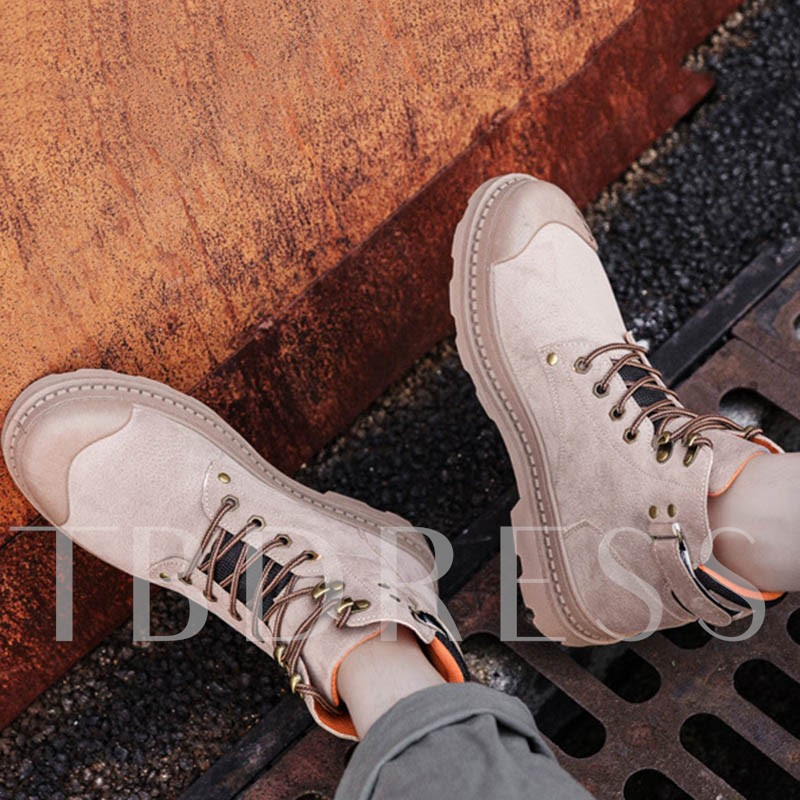 Round Toe Lace-Up Front Color Block Men's Ankle Boots