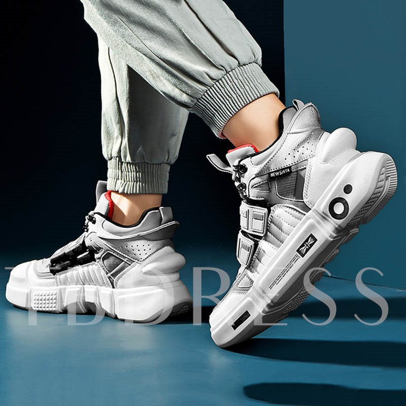 Chic Lace-Up Color Block Round Toe Men's Skate Shoes