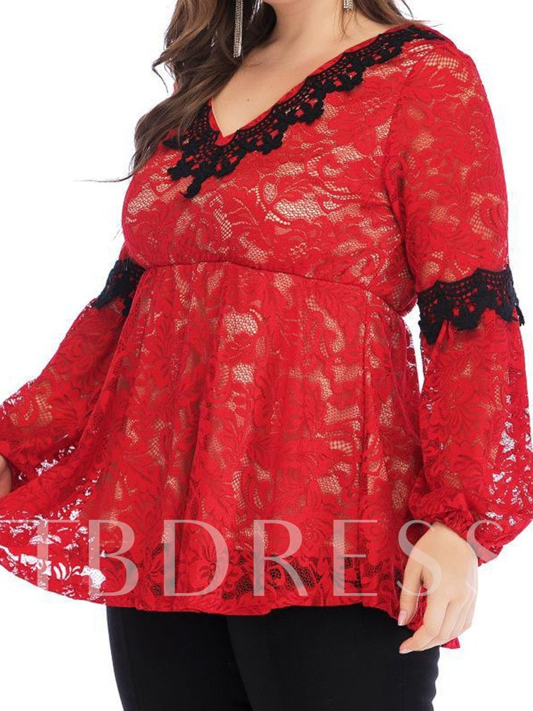 Plus Size Patchwork V-Neck Regular Long Sleeve Women's Blouse