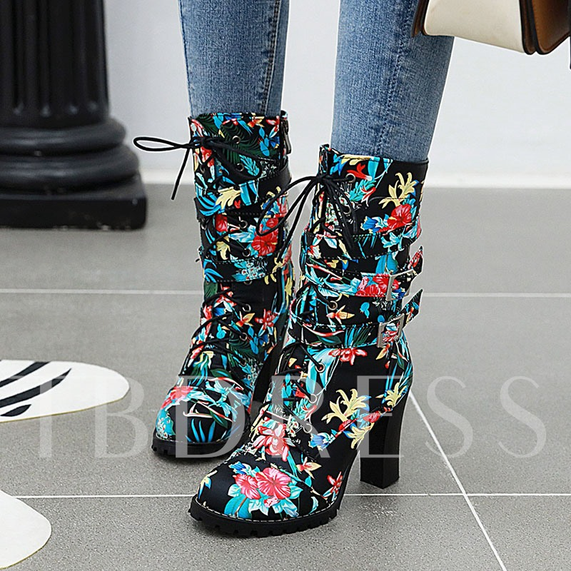 Floral Chunky Heel Round Toe Side Zipper Ankle Boots