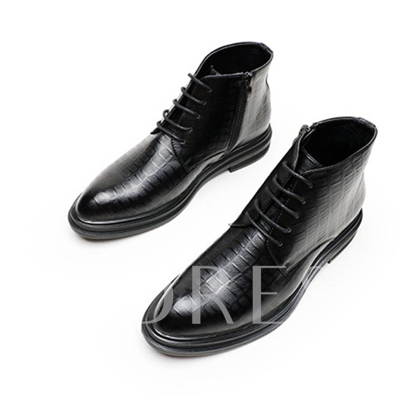 Round Toe Plain Lace-Up Front Men's Ankle Boots
