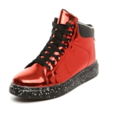 Lace-Up Hidden Elevator Heel Round Toe Metallic Skate Shoes