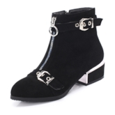 Plain Front Zipper Round Toe Block Heel Ankle Boots