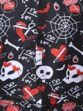 Button Lapel Letter Casual Single-Breasted Halloween Costume Men's Shirt