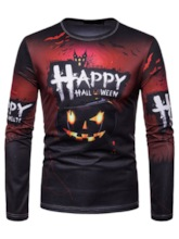 Casual Letter Print Round Neck Halloween Costume Men's T-shirt