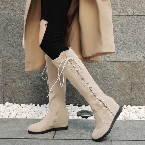 Side Zipper Round Toe Wedge Cross Strap Knee High Boots