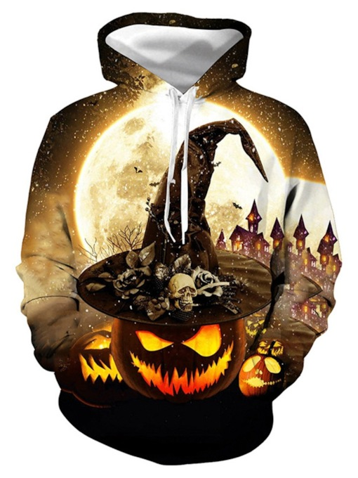Pullover Color Block Print Halloween Costume Men's Hoodies
