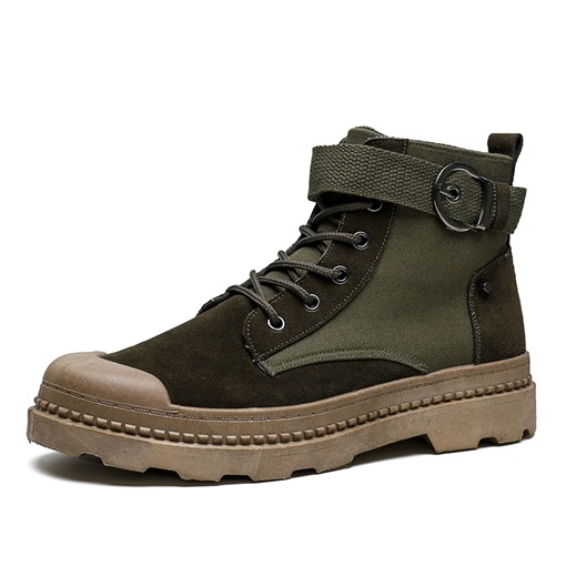 Round Toe Flat With Lace-Up Front Suede Men's Martin Boots