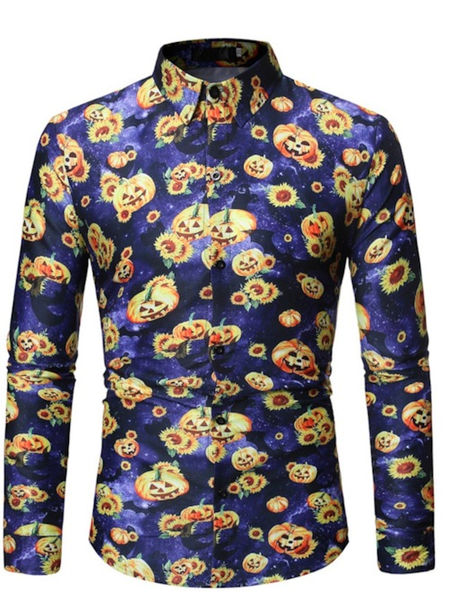 Button Casual Floral Lapel Single-Breasted Halloween Costume Men's Shirt