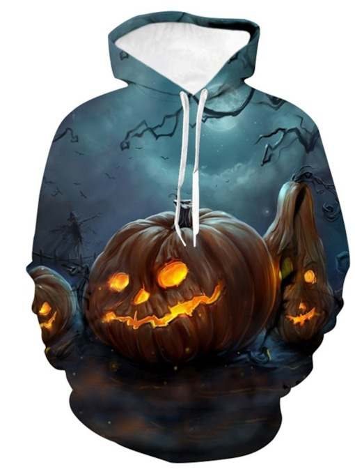 Color Block Print Pullover European Halloween Costume Men's Hoodies