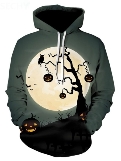 Thin Architecture Pullover Print Halloween Costume Men's Hoodies