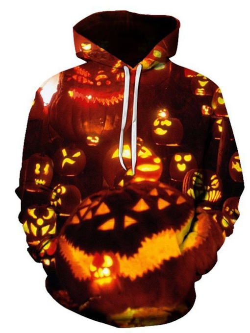 Print Pullover Color Block Fleece Halloween Costume Men's Hoodies
