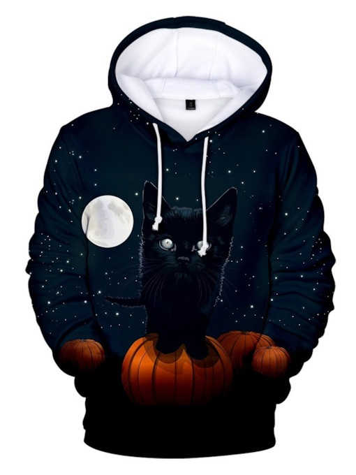 Fleece Print Pullover Color Block Halloween Costume Men's Hoodies
