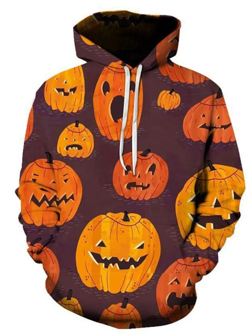 Print Color Block Pullover Loose Halloween Costume Men's Hoodies