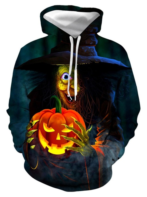 3D Color Block Pullover Loose Halloween Costume Men's Hoodies