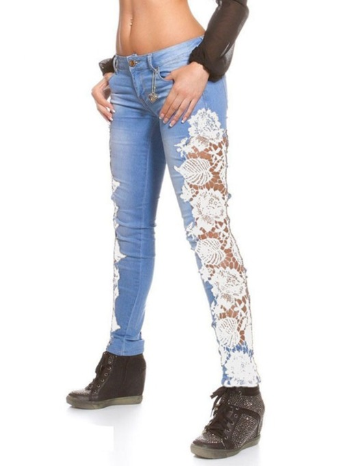 Lace Pencil Pants Hollow Skinny Women's Jeans