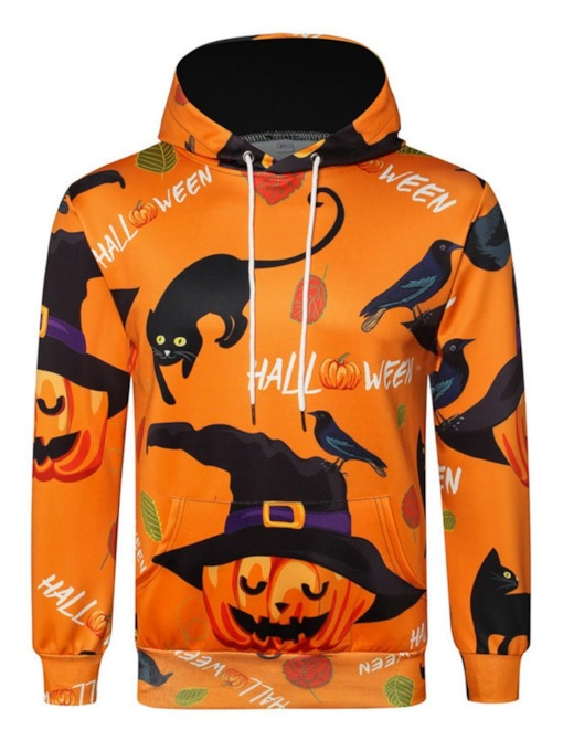 Color Block Pullover Print Halloween Costume Men's Hoodies