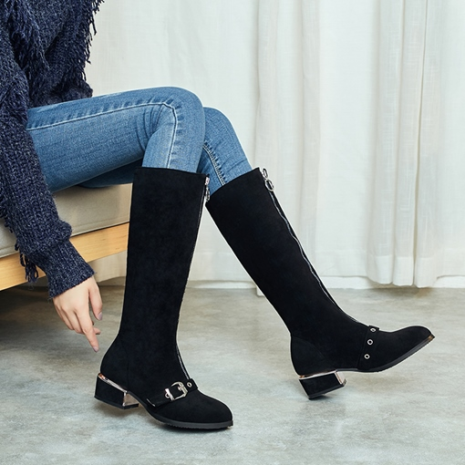Front Zipper Nubuck Leather Block Heel Knee High Boots