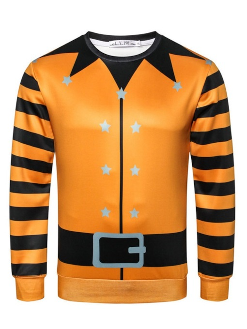 Pullover Stripe Print Casual Halloween Costume Men's Hoodies