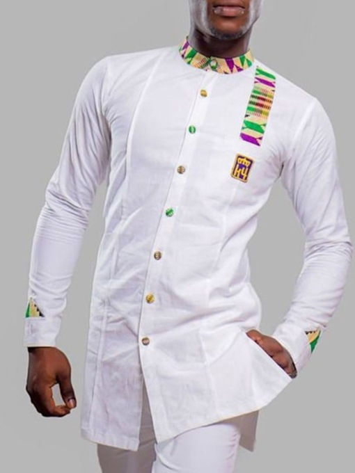 Stand African Fashion Dashiki Collar Casual Color Block Button Men's Shirt