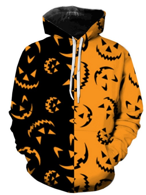 Pullover Print Double Color Block Halloween Costume Men's Hoodies