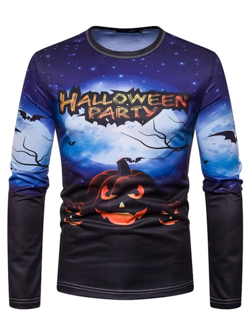 Print Round Neck Letter Casual Halloween Costume Straight Men's Shirt