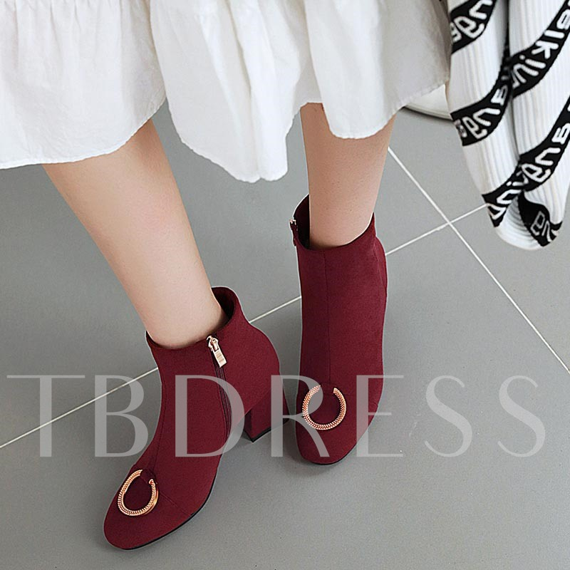 Suede Chunky Heel Side Zipper Round Toe Ankle Boots