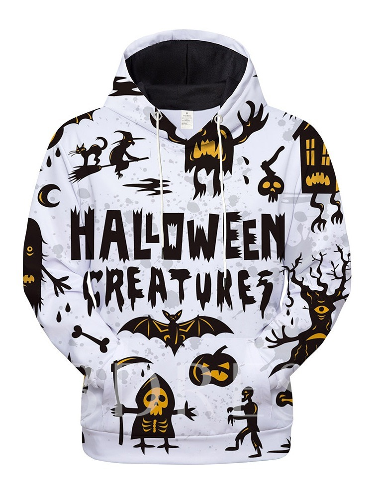 Letter Pullover Print Casual Halloween Costume Men's Hoodies