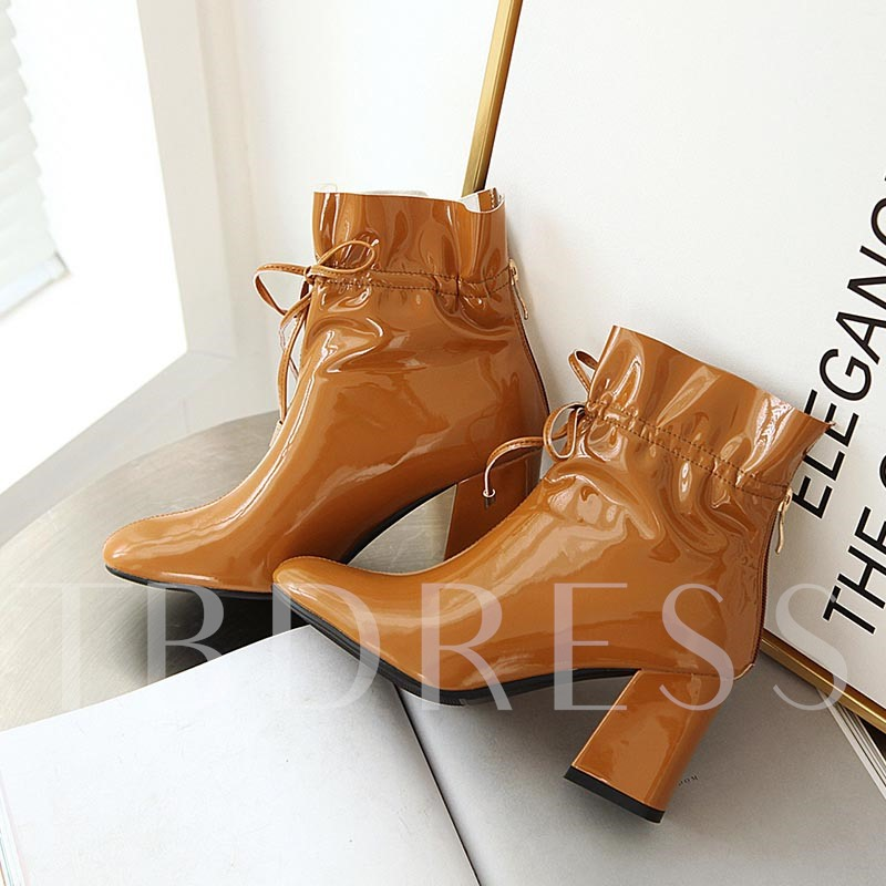 Lace-Up Front Plain Chunky Heel Pointed Toe Ankle Boots
