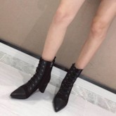 Plain Chunky Heel Pointed Toe Side Zipper Ankle Boots
