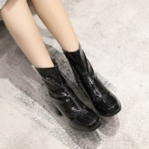 Side Zipper Square Toe Chunky Heel Zipper Ankle Boots