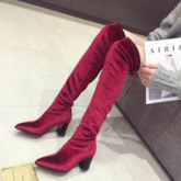 Lace-Up Back Chunky Heel Plain Pointed Toe Thigh High Boots